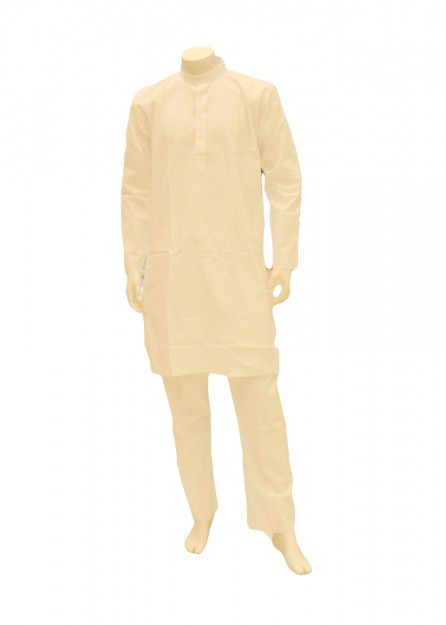 Mens White Cotton Kurta Pyjama