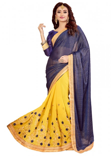Purple & Yellow Silk Saree