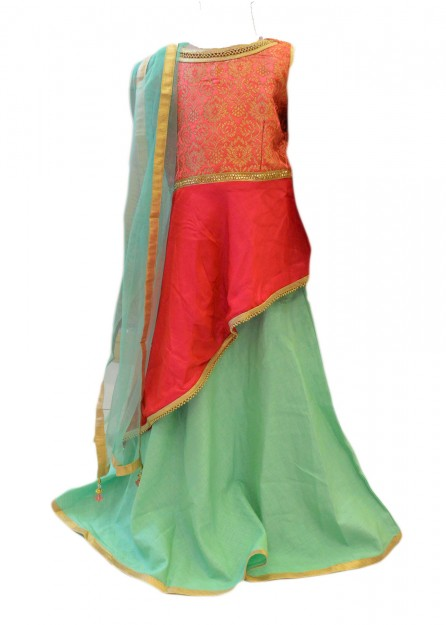 Long Top Lehengha Cotton Silk in Pink and Green-Pink-16
