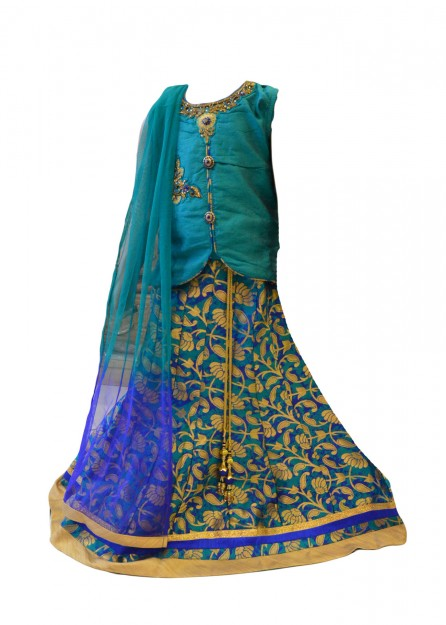 Brocade Lehengha Cotton Silk with Net Duppata in Green & Blue-Green-20