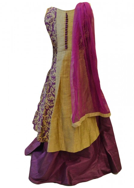 Printed Cotton Silk Lehengha in Purple with Gold-Purple-18