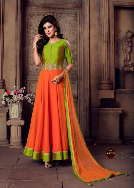 Light Green & Orange Color Gown-large
