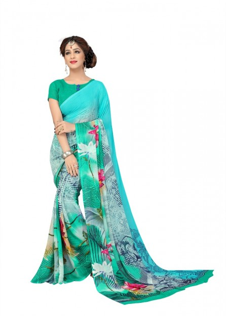 Printed Georgette Saree with Contrasting Blouse