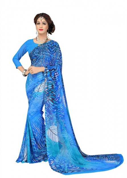 Printed Georgette Saree with Printed Blouse