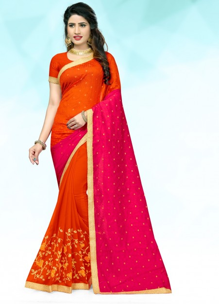 Orange & Dark Pink Embroidered Georgette Saree