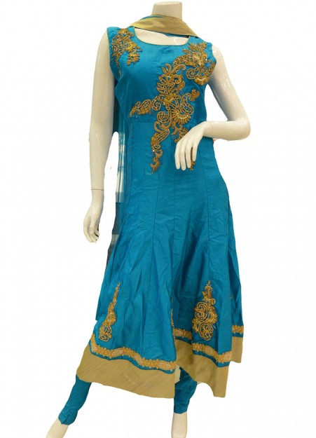 Turquoise Blue Cotton Anarkali churidar Suit With Dupatta