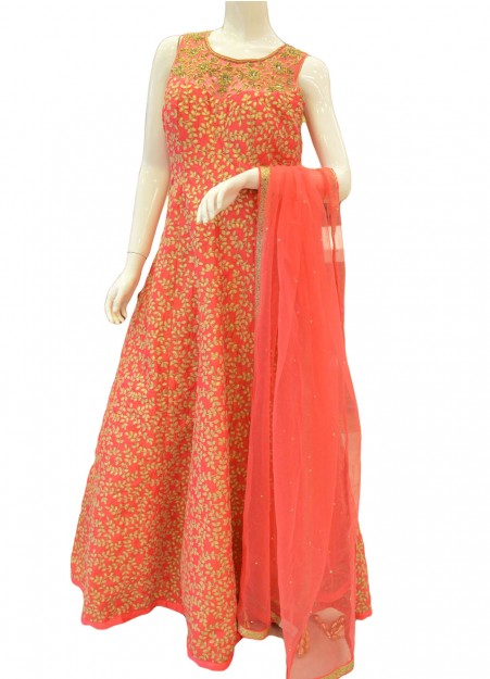 Rose Pink Embroidered Festival Anarkali Kameez Intricate with Zari Thread