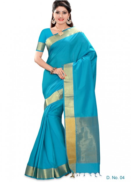 Light Blue Semi Silk Tissue Border Saree
