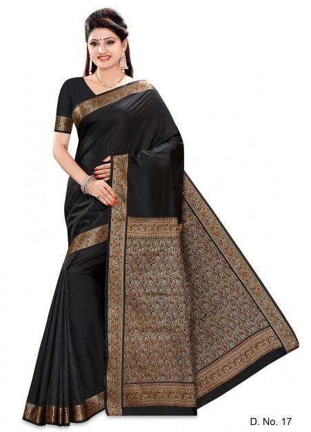 Black Color Semi Silk Printed Designer Border Saree