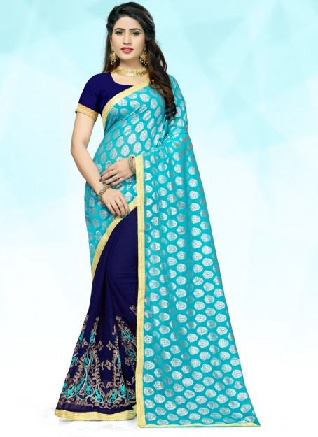 Navy Blue & Sky Blue Embroidered Georgette Saree