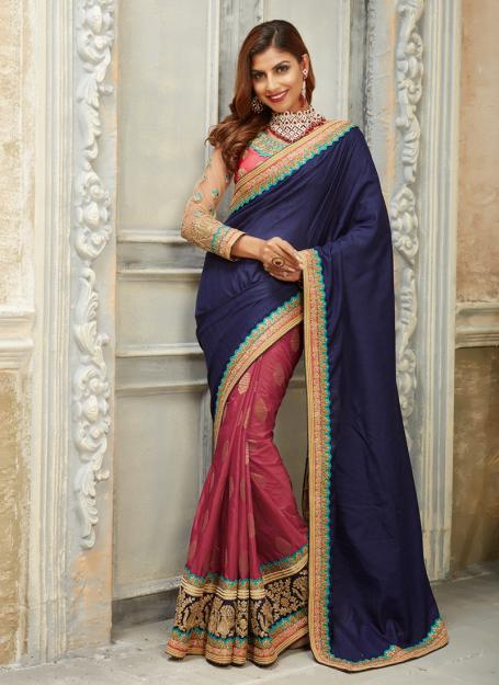 Half n Half Art Silk Saree in Navy Blue & Punch Pink