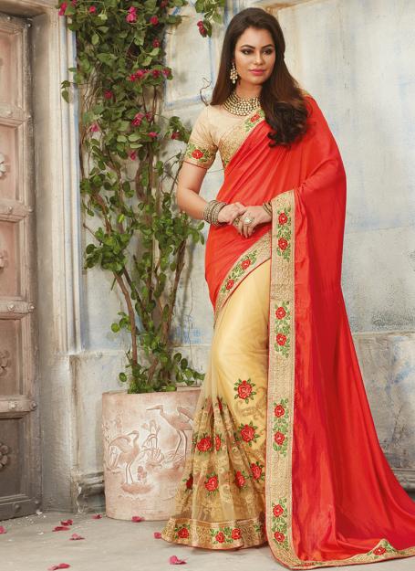 Embroidered Net & Art Silk Saree in Beige & Red