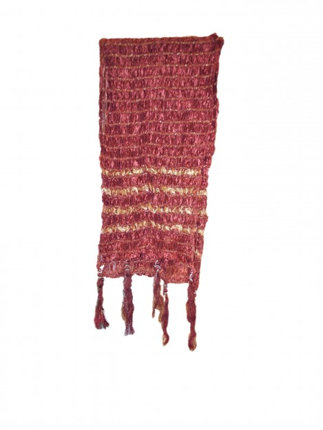 Dupatta with Gold Stripes-Red