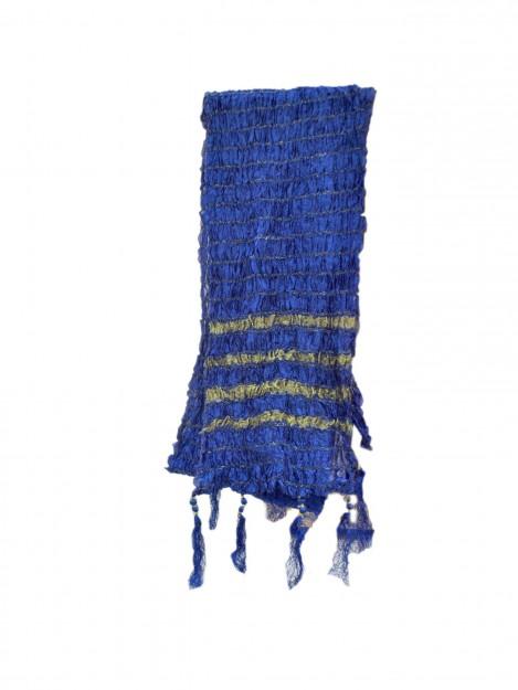 Dupatta with Gold Stripes-Royal Blue