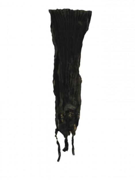 Plain Crushed Dupatta-Black