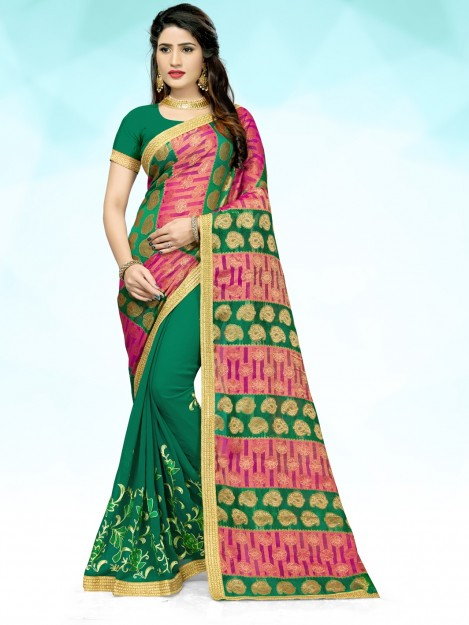 Fancy Dark Green Embroidered Georgette Saree