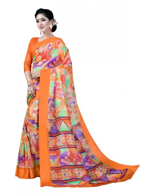 Printed Raw Silk Saree in Multicolour