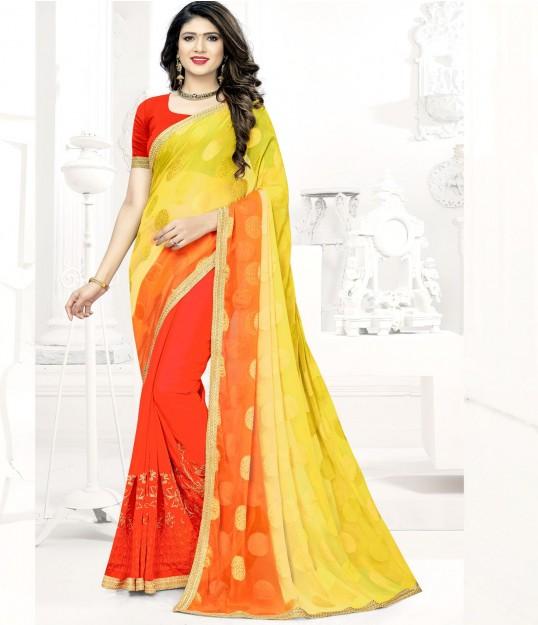 Dark Orange & Yellow Silk Georgette Saree With Embroidery