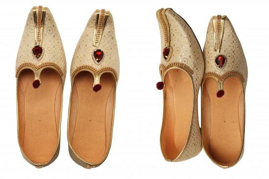 Cream, Gold brocade with rhinestone Kids Mojdi/Shoes