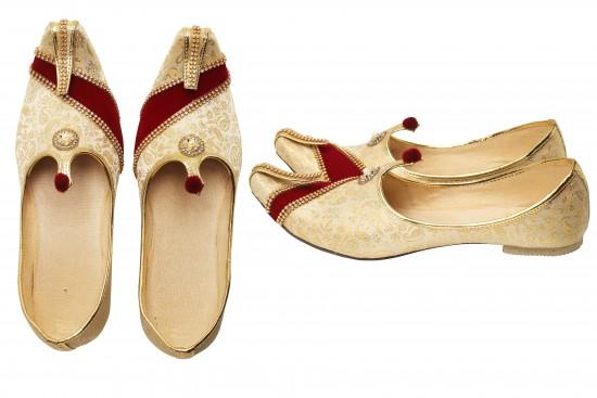 Cream & Red, Gold brocade with rhinestone Men'sMojdi/Shoes
