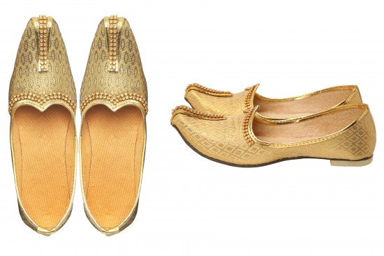 Gold Brocade Kids's Indian mojdi/Shoes