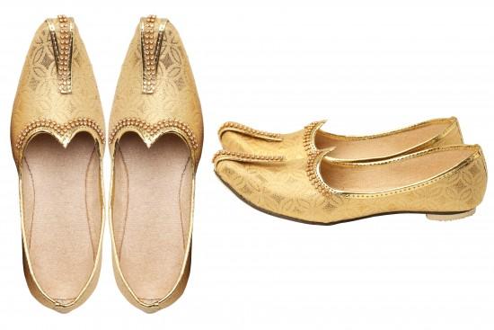 Gold Brocade With Gold Glitz Mono Rhinestone Kid's mojdi/Shoes