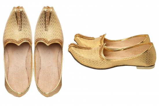 Gold Brocade Kids Indian mojdi/Shoes