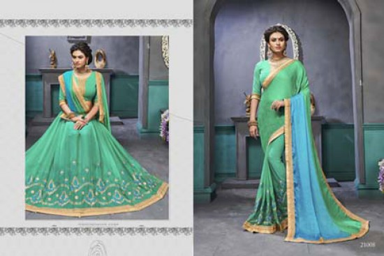 Sea Green & Sky Blue Embroidered Georgette Saree