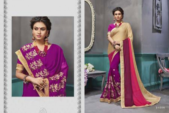 Fancy Purple & Peach Embroidered Georgette Saree