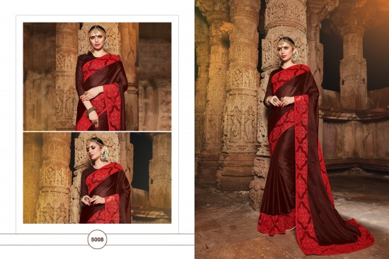 Red & Dark Brown Silk Georgette Saree With Embroidery