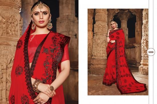 Dark Red Silk Georgette Saree With Embroidery