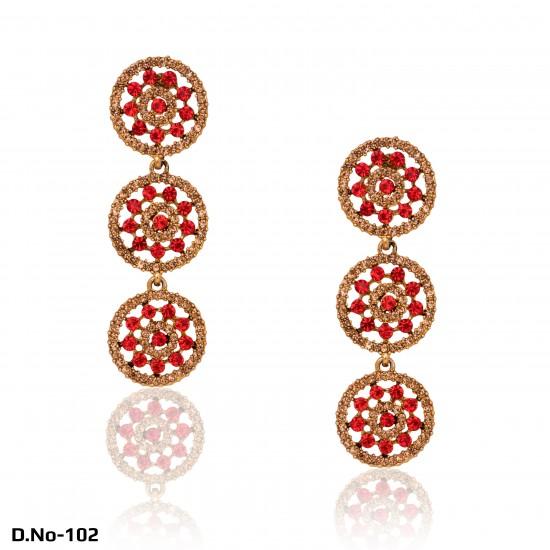 Antique Gold Diamonds & Stones Earrings