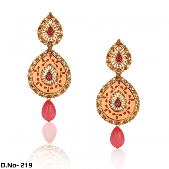 Antique Gold with Diamond Stud Party Wear Earrings