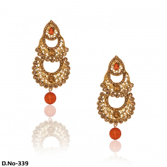 Antique Gold with Pearls & Diamonds Party Wear Earrings- Orange