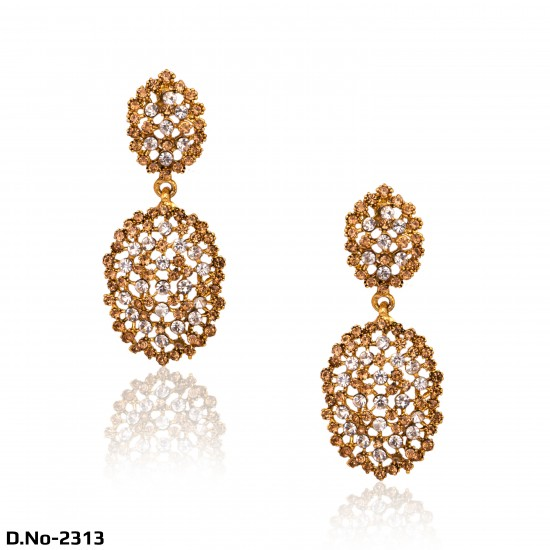 Elegant Pair of Antique Gold with Precious Stones & Stud Earrings