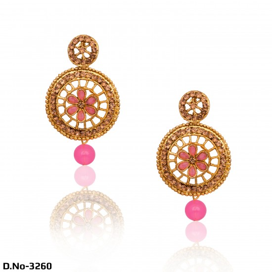 Golden Party Wear with Pink Pearls Earrings