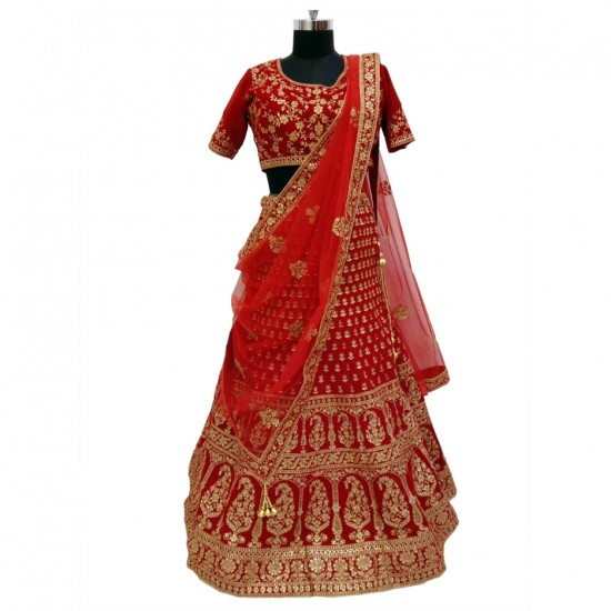 Dark Red With Gold Embroidery Bridal Lehenga