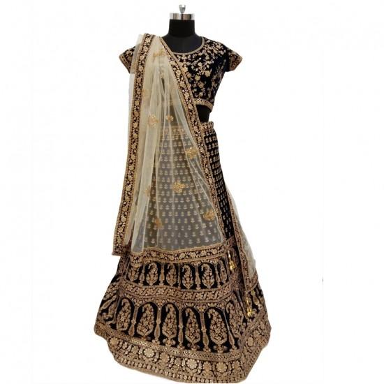 Velvet Navy Blue With Embroidery Bridal Lehenga