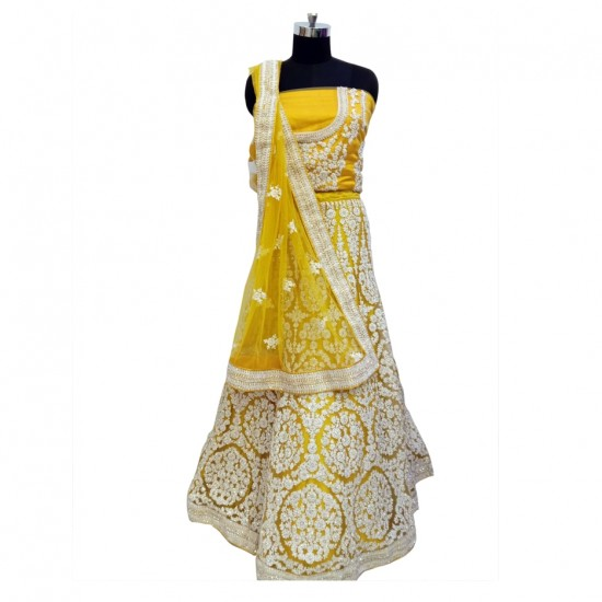 Yellow With Silver Embroidery Bridal Lehenga