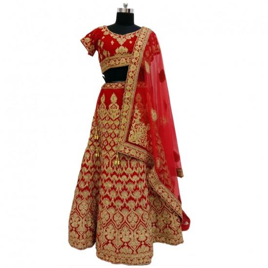 Dark Red With Gold Thread Work Bridal Lehenga