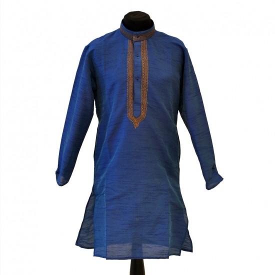 Kids Raw Silk With Antique Thread Work Kurta Pyjama