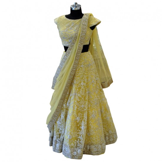 Yellow Net With Silver Embroidery Lehenga