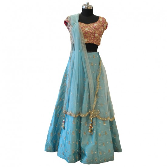 Pink & Light Blue With Gold Embroidery Lehenga