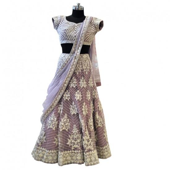 Light Purple Net With Silver Embroidery Lehenga