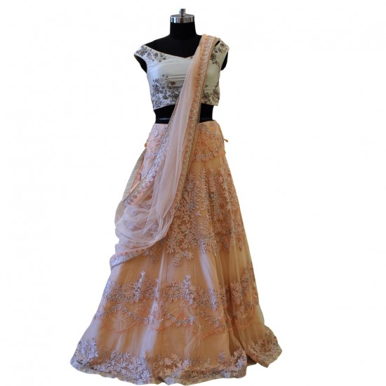 Off White & Light Peach With Embroidery Work Lehenga