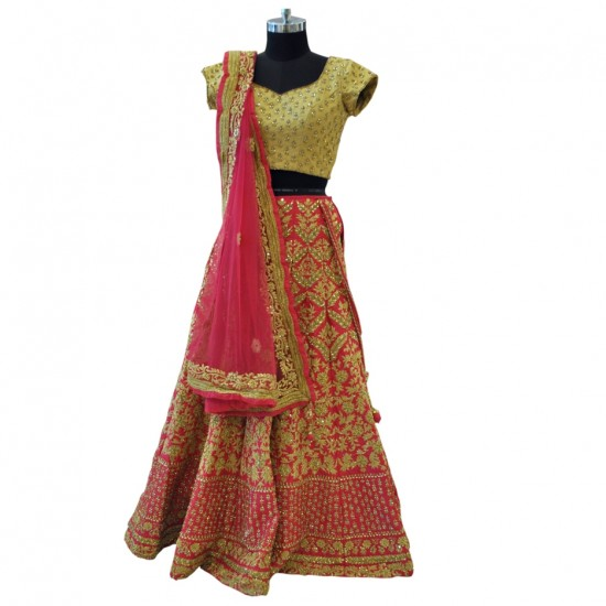 Gold & Pink With Gold Embroidery Lehenga