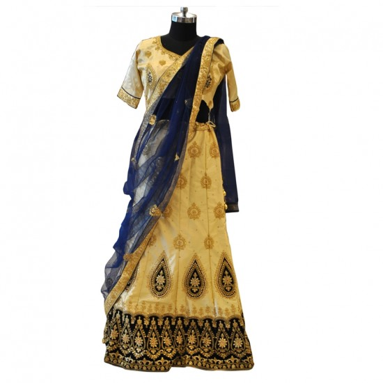 Cream & Navy Blue With Gold Embroidery Lehenga