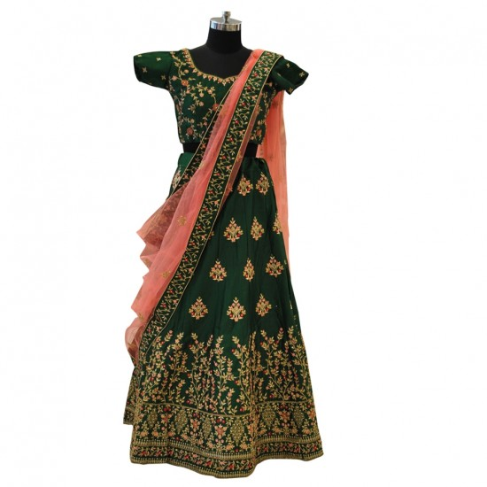 Green & Pink With Gold And Pink Embroidery Lehenga