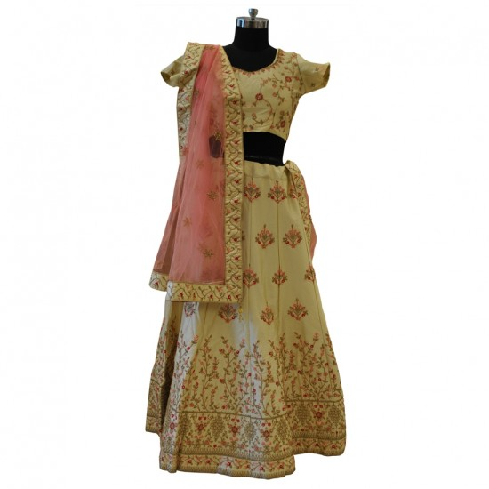 Cream & Pink With Gold And Pink Embroidery Lehenga