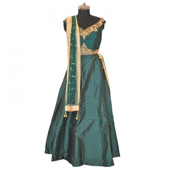 Bottle Green With Embroidery Lehenga